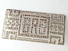 Sterling Silver Art Deco Marcasite Initial Brooch-Art Deco Brooch, Marcasite Initial Brooch, Marcasite Initial Pin, Initial Pin  BellaRosaAntiques.com