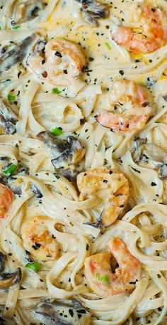 Creamy Shrimp and Mushroom Pasta in a Delicious Homemade Alfredo Sauce: all the flavors you want: garlic, basil, crushed red pepper flakes, paprika, Parmesan and Mozzarella cheese.