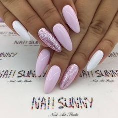 """If you're unfamiliar with nail trends and you hear the words """"coffin nails,"""" what comes to mind? It's not nails with coffins drawn on them. It's long nails with a square tip, and the look has. Bright Summer Nails, Spring Nails, White Summer Nails, Nail Summer, Glitter Nails, Fun Nails, Pink Glitter, White Sparkly Nails, Bright Pink Nails"""