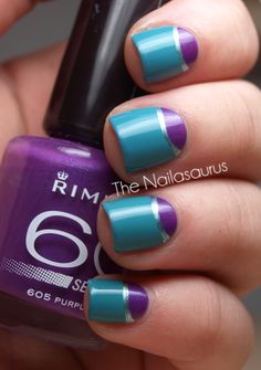 Stripes on half moons nail art design in blue-green, purple, silver