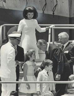 Jackie at the christening of the John F. Kennedy aircraft carrier.