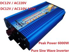 3KW 3000w DC12V to AC220V 50HZ or DC12V to AC110V 60HZ Pure Sine Wave Inverter Surge power up to 6000w #Affiliate