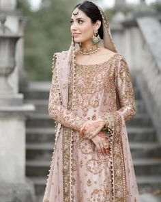 This Pakistani Bride's Nikkah Look is a Fusion of Elegant & Glam Pakistani Wedding Outfits, Pakistani Bridal Dresses, Pakistani Wedding Dresses, Bridal Outfits, Eid Outfits, Wedding Hijab, Formal Wedding, Indian Dresses, Indian Outfits