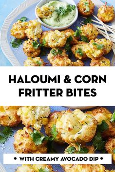 These mini cheese and corn fritters are a perfect snack, lunchbox treat, finger food or light meal. We can't stop dunking them in the creamy avocado, lemon and yoghurt dip! Vegetable Recipes, Vegetarian Recipes, Cooking Recipes, Healthy Recipes, Vegetarian Finger Food, Cooking Food, Savory Snacks, Healthy Snacks, Savoury Recipes