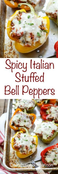 Spicy Italian Stuffed Bell Peppers are loaded with Italian flavor and just a hint of heat. If spicy isnt your thing skip the crushed red pepper and youll have an Italian-style meal that will make everyone happy. Served with a salad or warm garlic bread Stuffed Bell Peppers Easy, Italian Stuffed Peppers, Meat Recipes, Seafood Recipes, Cooking Recipes, Healthy Recipes, Healthy Options, Healthy Food, Italian Dishes