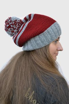 Womens gift Gift for her  Womens hat pom pom Christmas gift Slouchy beanie  Hand knitted Hat wool Winter hat (30.00 USD) by skeinofwool