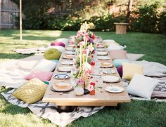 "floor table with blankets/tablecloths underneath and pillow seating - make some 18""x18"" throw pillows that can be reused in girl's room - use moss or grass runner"
