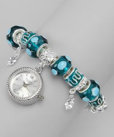 Silver & Blue Dot Charm Watch by Timing Trends on zulily