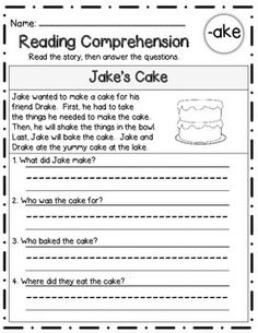 Reading Comprehension Stories & Questions:Long Vowel Famil First Grade Reading Comprehension, Reading Comprehension Worksheets, Reading Fluency, Reading Skills, Life Skills Classroom, Adhd Activities, English Activities, Word Work Centers, Cvc Words