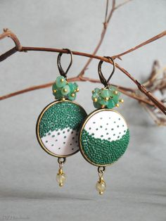 Handmade Polymer clay earrings - green leaves of beautiful ecru background. The earrings are decorated with natural stones. ❋ Diameter