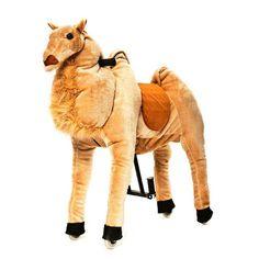 """Das Animal-Riding Kamel """"Hadschi"""" ist ein gesundes Bewegungsgerät, welches viel Spiel und Spaß für Kinder bietet. Es zeichnet sich durch einen weichen Plüschkörper und ein innovatives Antriebssystem mit Lenkung, Haltegriffen, Fuß-Stützen und Kunststoff-Rädern aus. Die Tiere sind in 3 Größen (klein, mittel, groß) erhältlich."""