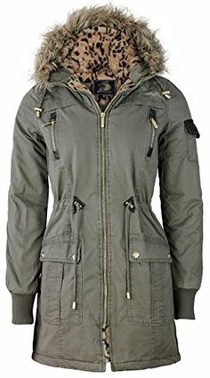 64a96683e0c14 SAMANTHA S WOMENS FAUX LEOPARD FUR HOODED QUILTED JACKET LADIES PARKA  MILITARY COAT 8-16