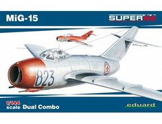The Eduard 1/144 MiG-15 Super44 Dual Combo from the plastic aircraft model kits range accurately recreates 2 real life Cold War era Russian fighter jets.
