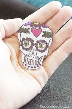 Day of the Dead Shrink Plastic Jewelry - Pin