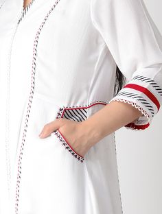 Buy White Hand embroidered Rayon Anarkali Kurta Women Kurtas Tribal Notes Vintage Afghani thread necklaces for a rustic vibe Online at Jaypore.com Neck Designs For Suits, Sleeves Designs For Dresses, Dress Neck Designs, Sleeve Designs, Blouse Designs, Kurti Sleeves Design, Kurta Neck Design, Simple Kurti Designs, Kurta Designs Women