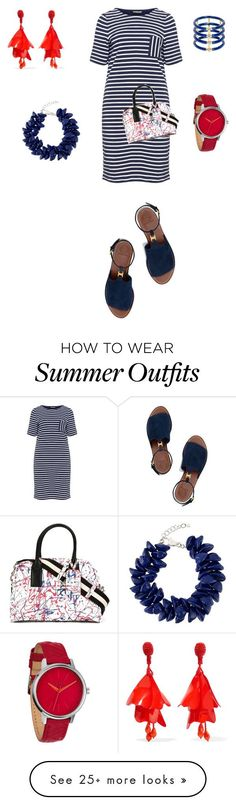 """Collection Of Summer Styles    """"Red white and blue, outfit only"""" by jayzinger on Polyvore featuring Samoon, Marc Jacobs, Tory Burch, Elizabeth and James, Dsquared2, Nixon, Oscar de la Renta, dsquared2, fouthofjuly and navabi    - #Outfits  https://fashioninspire.net/fashion/outfits/summer-outfits-red-white-and-blue-outfit-only-by-jayzinger-on-polyvore-featuring-samoon-mar/"""