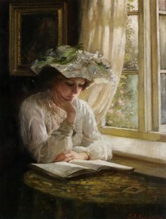 "Thomas Benjamin Kennington (Thomas Benjamin Kennington) (1856-1916)  Lady Reading by a Window  Oil On Canvas    36 x 28 cm  (14.17"" x 11.02"")"