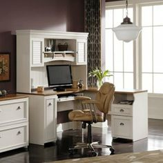Sewing room table? Bush Fairview L-Shaped Computer Desk with Optional Hutch - Antique White Image