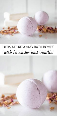 These ultimate relaxing bath bombs are made with lavender essential oil and other natural ingredients. Lavender bath bombs can be the best way to wind down after a long stressful day. Learn how to make a bath bomb with this simple recipe and video tutorial. #bathbombs #relaxingbathbombs #lavenderbathbombs #essentialoilbathbombs