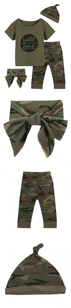 Baby Boys Girls Outfit Long Set 2PCS Camouflage Letter Print Shirt With Pants (Wild One Short Camouflage, 12-18 Months) #boyoutfits #babyboyoutfits