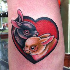 Rabbits Love Heart Tattoo