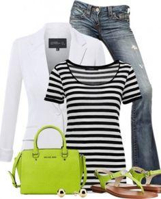Lime Color Pop, Stripes Top and Boyfriend Blazer Outfit