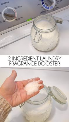 2 Ingredient Laundry Fragrance Booster Make your own fragrance booster for better smelling laundry. Why buy expensive scent crystals when they can be made at home with only 2 ingredients? Save big bucks, too! Homemade Cleaning Products, House Cleaning Tips, Natural Cleaning Products, Cleaning Hacks, Diy Hacks, Household Products, Natural Cleaning Recipes, Bath Products, Green Cleaning