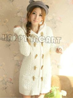 SIONI WOMEN SWEATER COAT WOOL Cardigan WITH RABBIT FUR TRIM DRESS ...