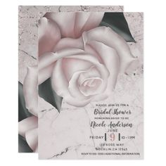 Blush White Rose Glam Modern Marble Bridal Shower Card - engagement gifts ideas diy special unique personalize