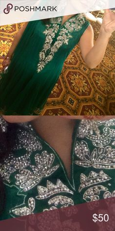 Salwar Kameez Long dress with plan green pants and scarf. Gorgeous embroidered neckline and back. Tight neckline with no zipper. Dresses Wedding