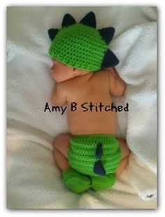 Free from Ravely-Dinosaur Hat & Diaper Cover, Crocheted