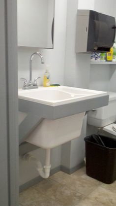 Shop Sink Idea   Note How It Is Installed (without The Normal Plastic Legs)