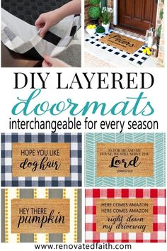 Make Layered Doormats with Fabric (Interchangeable for ANY Season!) is part of Door mat diy - Love layered door mats but not the cost This DIY doormat tutorial shows you how to make layered doormats with fabric covers to change out for every season Front Door Mats, Front Door Decor, Diy Door Mats, Free Stencils, Stencil Diy, Diy Décoration, Easy Diy, Dyi, Home Renovation