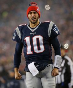 Jimmy Garoppolo #10 of the New England Patriots come out on to the field prior to the AFC Championship Game against the Pittsburgh Steelers at Gillette Stadium on January 22, 2017 in Foxboro, Massachusetts.