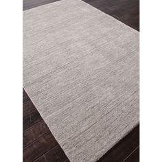 Handmade Grey/ Ivory Solid Wool Rug (5' x 8') with Bonus Rug Pad
