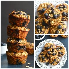 Blueberry Protein Oatmeal Muffins {GF, Low Cal} - Skinny Fitalicious
