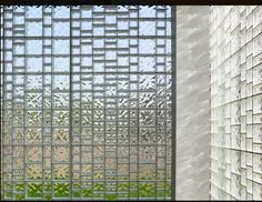Mondrian Patterned Glass Block Wall With Multi Shaped