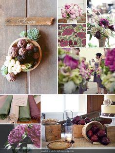carnet d'inspiration { déclinaison en lie de vin, vert de gris et roses} par #lamarieeauxpiedsnus