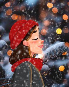 Daria Artemieva on Behance Christmas Drawing, Christmas Art, Christmas Illustration, Cute Illustration, Girl Cartoon, Cartoon Art, Cartoon Drawings, Cute Drawings, Cute Girl Drawing