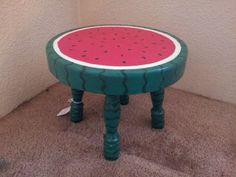 Hand Painted Watermelon step stool CUTE