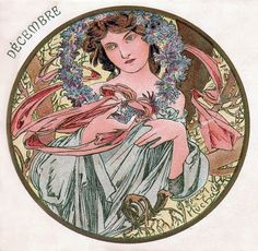 Alphonse Mucha - Month's of the Year - December - Art Nouveau