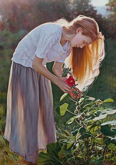 """""""Poésie"""" - Danielle Richard, oil and acrylics {figurative realism art beautiful blonde female picking flowers outdoors standing young woman profile cropped painting} daniellerichard.com"""