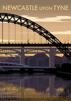 Newcastle upon Tyne Art Print Newcastle England, Tourism Poster, Railway Posters, Cottage Art, Art Deco Posters, Vintage Travel Posters, Time Travel, Countryside, Art Prints