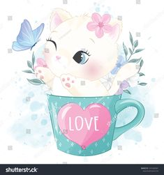 Cute Little Kitty Inside The Cup Playing With Butterfly Panda Wallpapers, Cute Cartoon Wallpapers, Baby Animal Drawings, Cute Drawings, Cute Images, Cute Pictures, Cute Panda Wallpaper, Little Kitty, Cute Disney