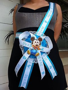 Baby Shower Mickey Mouse Mom To Be Itu0027s A Boy Sash Blue Ribbon With Corsage