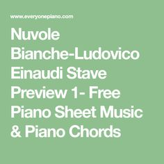 Nuvole Bianche-Ludovico Einaudi Stave Preview 1- Free Piano Sheet Music & Piano Chords