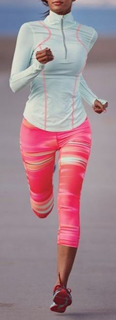 Bright running pants are not only cute but also make it easy for cars to see you! #RunningFashion #RunSafely