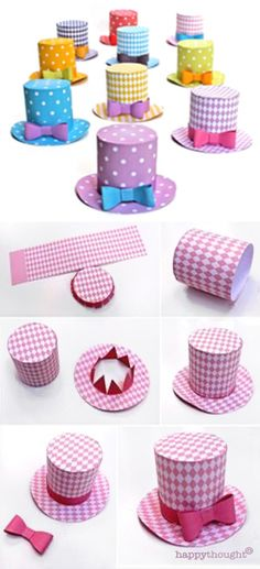 Make your own Easter bonnet this year with a stylish mini top hat! Easy no sew paper hat template https://happythought.co.uk/product/diamond-mini-top-hats