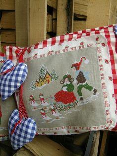 vintage Christmas hankies on pillow