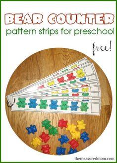 free bear counter pattern strips for preschool
